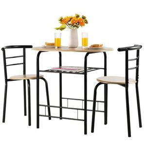 3 Pcs Home Kitchen Bistro Pub Dining Table 2 Chairs Set-Natural for Sale in Rowland Heights, CA