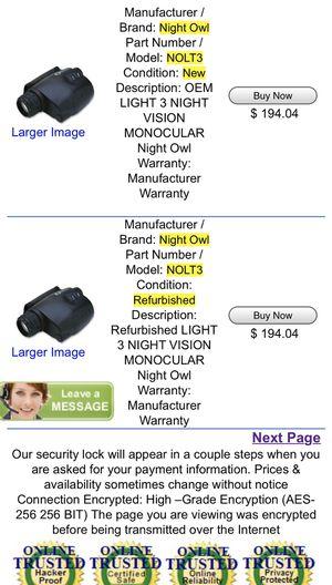 Night Owl Optics - Model No: NOLT3 Nightvision Monocular for Sale in San Angelo, TX