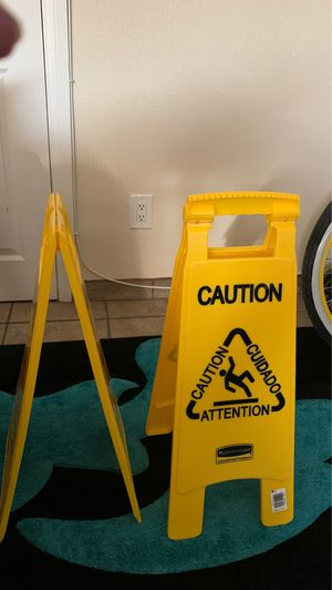 2 wet floor signs $15 for both no less for Sale in Los Angeles, CA