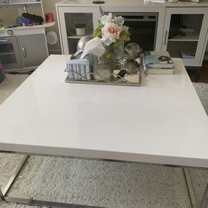 Chrome and White Coffee Table for Sale in Alexandria, VA