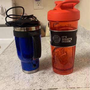 1 Heated Travel Coffee Mug W/ Car Charger & 1 Blender Bottle for Sale in Auburn, WA