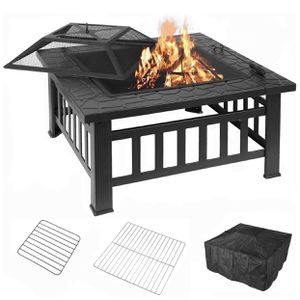 32'' Fire Pit Table Outdoor, Multifunctional Patio Backyard Garden Fireplace Heater/BBQ/Ice Pit, Square Stove with Barbecue Grill Shelf for Sale in Rosemead, CA