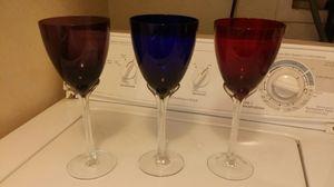 Set of 3 colored wine glasses for Sale in Modesto, CA