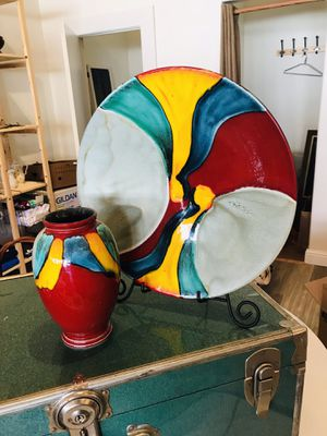 Poole Vase and Platter for Sale in Arroyo Grande, CA