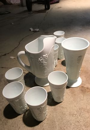 Milk glass set 8 cups and 2 vases for Sale in St. Charles, IL