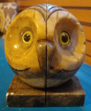 Hand Carved Genuine Alabaster Owl Bookends for Sale in Austin, TX