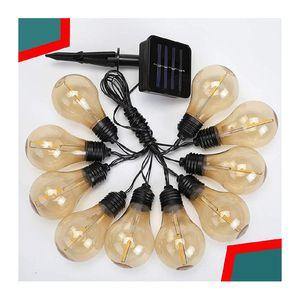 Solar String Light Outdoor Edison Vintage Plastic 10 Bulbs 16.4 FT- Hanging Shatterproof & Waterproof String Lights for Sale in Garden Grove, CA