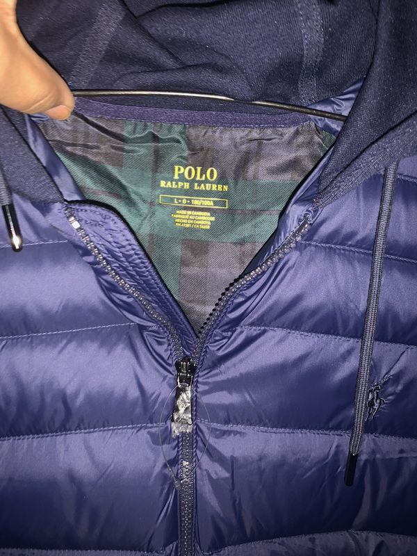 Polo Ralph Lauren double knit hooded vest large New + Free polo socks