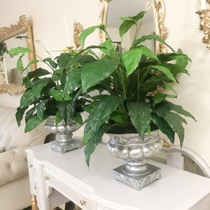 Set Of 2 Artificial Plants In Silver Urns for Sale in Purcellville, VA
