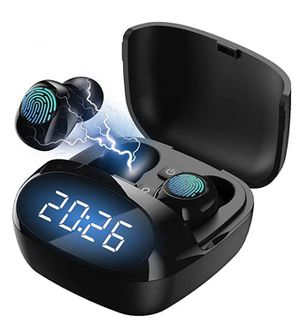 Wireless Bluetooth Earbuds 5.0 Headphones Touch Control TWS Stereo Charging Case IPX8 Waterproof Wireless Headphones LED Display for Sale in Grand Prairie, TX