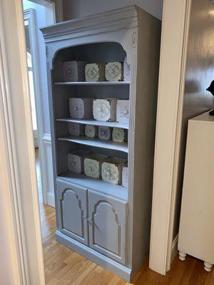 Distressed Gray Wood Bookshelf, 2 adjustable shelves, 2 storage drawers for Sale in Charlotte, NC