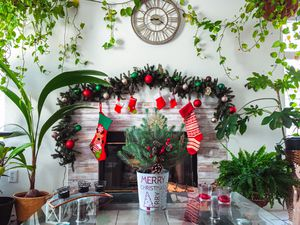 Garland with warm light lights + ornaments for Sale in Las Vegas, NV