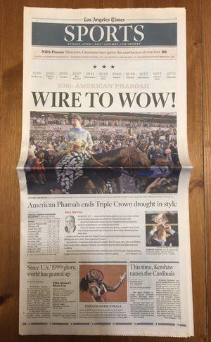 (1 COPY) LOS ANGELES TIMES: AMERICAN PHAROAH WINS TRIPLE CROWN for Sale in Compton, CA