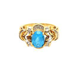 10KT Topaz, Baguette, Round Diamonds Ring for Sale in Brandywine,  MD