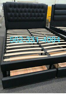 Black Faux Leather Queen bed with Drawers , Mattress Included, Con Colchon for Sale in San Jose, CA