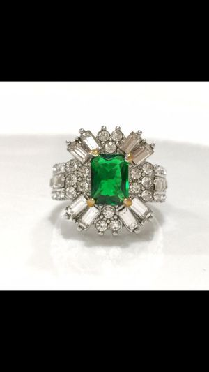 Silver emerald lab created Cz ring jewelry accessory size 7 and 8 available for Sale in Silver Spring, MD