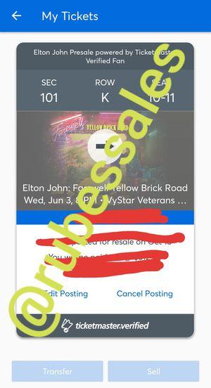 Elton John in Jacksonville Florida Jun 3rd 2020 for Sale in Jacksonville, FL