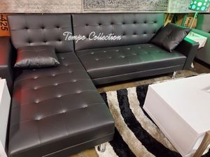 New, Leather Sectional Sofa Bed, Black, SKU# 8036BK for Sale in Midway City, CA
