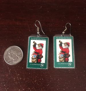 """Christmas """"Postage Stamp"""" Earrings for Sale in Bend, OR"""