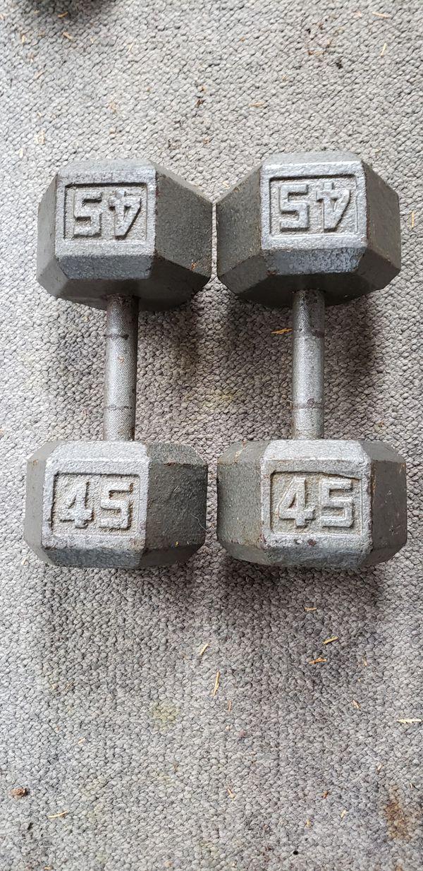 Pair of 45 lb Hex Dumbbells