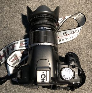 """Canon EOS Rebel T1i, Lens with Hood, """"Off-White"""" Camera Strap & More for Sale in Fullerton, CA"""