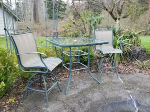 Metal Outdoor Patio Pub Table and 2 Chairs for Sale in Olalla, WA