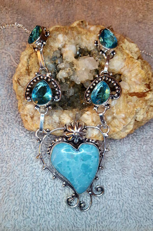 Stunning Calsilica Heart and Blue Topaz Gemstone Necklace