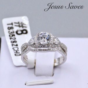 Sterling Silver 925 Wedding CZ Ring Set Size 5/6/7/8/9 for Sale in Fresno, CA