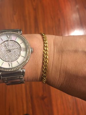 Stainless Steel gold color Curb Cuban Link Chain Bracelets for men Women Unisex Wrist Jewelry Gifts 7 inches and 9 inches $7 for Sale in Avondale, AZ