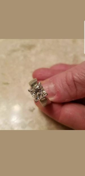 STUNNING SILVER 2 CT PRINCESS CUT MOISSANITE RING SIZE 6 1/2 & 8 for Sale in Perris, CA