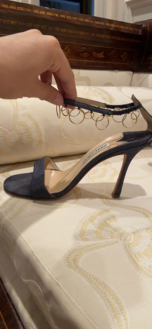 Jimmy Choo worn twice size 39.5 or 9.5 DENIM with gold loop ankle strap for Sale in Brooklyn, NY