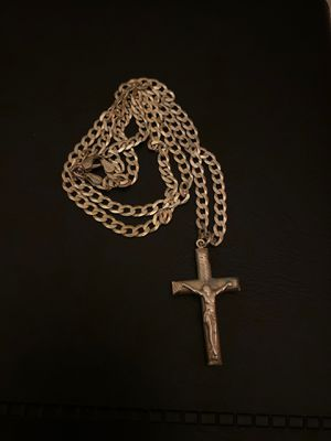 """24"""" Silver Necklace with Crucifix charm for Sale in Fort Lauderdale, FL"""