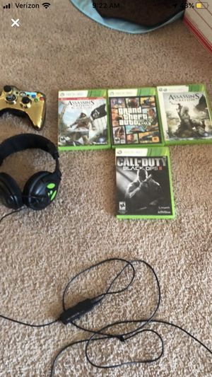 XBOX controller (gold) turtle beach headset and games for Sale in Kalamazoo, MI