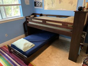 Bunk bed bedroom set - safer low profile, with stairs, shelves for Sale in Miami, FL