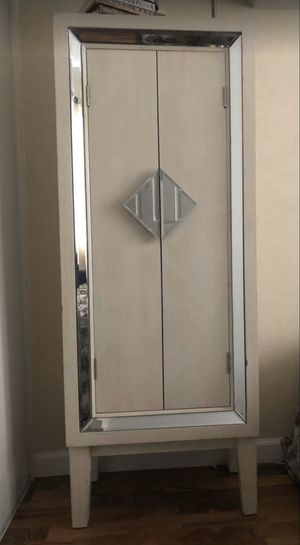 Storage Cabinet with Mirror Trim and 3 Shelves for Sale in San Diego, CA