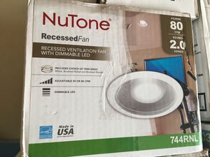 NuTone White Adjustable 50-80 CFM Ceiling Bathroom Exhaust Fan with Light Easy Change Trim Kit, ENERGY STAR* for Sale in Garden Grove, CA