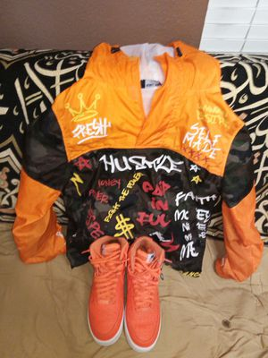 Orange and white Nike air forces with rebel minds designer jacket with hoodie for Sale in La Vergne, TN