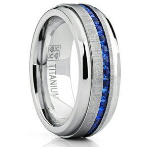 Men's Titanium Wedding Band Ring W/Simulated Sapphire CZ's for Sale in Wichita, KS