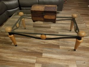 2 Set Honey Oak Glass Center and Side Table for Sale in Montebello, CA