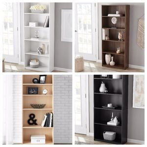 NEW bookcase display case shelving Storage Cabinet unit white, oak wood, brown, black bookshelf for Sale in Dallas, TX