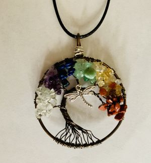 Jewelry necklace Dragonfly Gemstones Chakra Reiki Copper Handmade for Sale in Worcester, MA