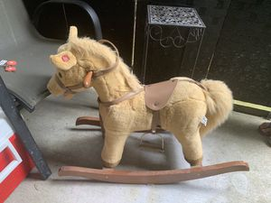 Kids Toy Rocking Horse Wood Plush Pony Traditional Gift w/ Sound for Sale in Frederick, MD