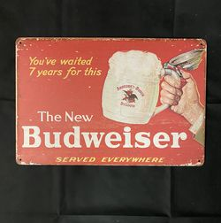 Budweiser Beer Vintage Antique Collectible Tin Metal Sign Wall Decor for Sale in Fontana,  CA
