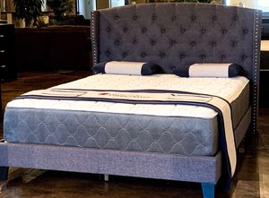 Queen Smokey Gray Tufted Linen Bed with Mattress Free Delivery for Sale in Garland, TX