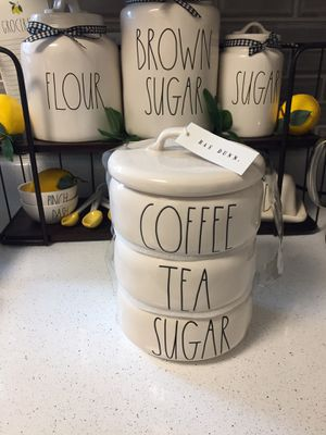 Rae Dunn Coffee Sugar and Tea stack cellars for Sale in Peoria, AZ