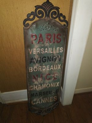 Tall metal French cities sign for Sale in Atlanta, GA