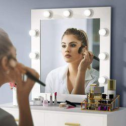 Dresser Desk Vanity Set Makeup Table with Lighted Mirror, 9 Lights & 2 Drawers for Sale in Newark,  NJ