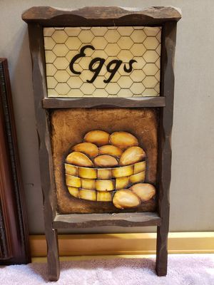 Handmade Wood Primitive Farmhouse Country Eggs Wall Plaque Sign Paper Decoupage for Sale in Willow Spring, NC