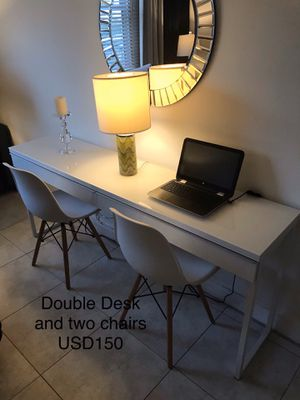 Double desk with two Eames chairs (replicas). for Sale in North Bay Village, FL