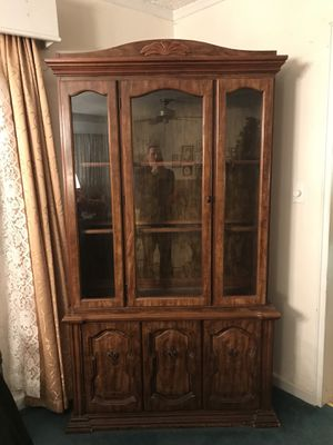 Brown wooden China Cabinet for Sale in Silver Spring, MD